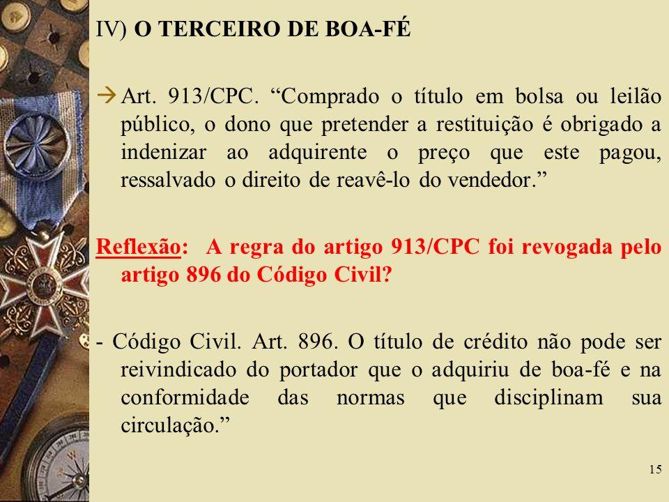 IV) O TERCEIRO DE BOA-FÉ Art.913/CPC.