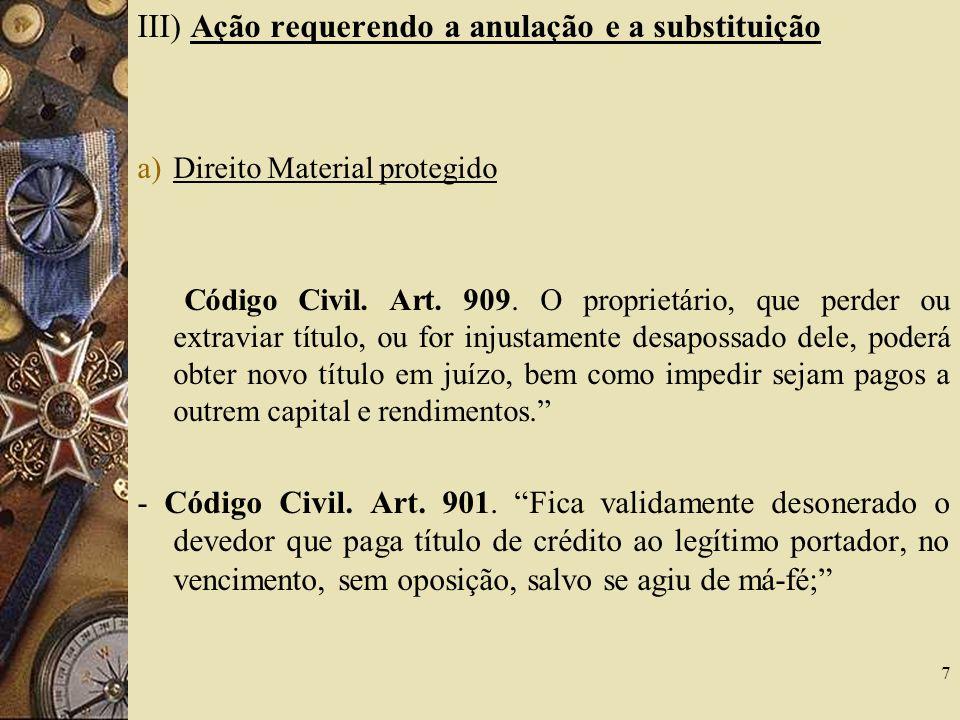 III) Ação requerendo a anulação e a substituição a)Direito Material protegido Código Civil.