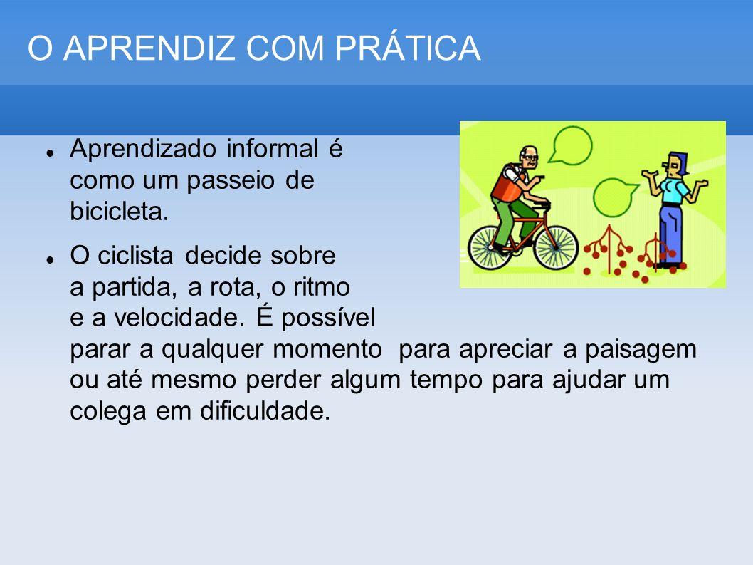 O APRENDIZ COM PRÁTICA Aprendizado informal é como um passeio de bicicleta. O ciclista decide sobre a partida, a rota, o ritmo e a velocidade. É possí