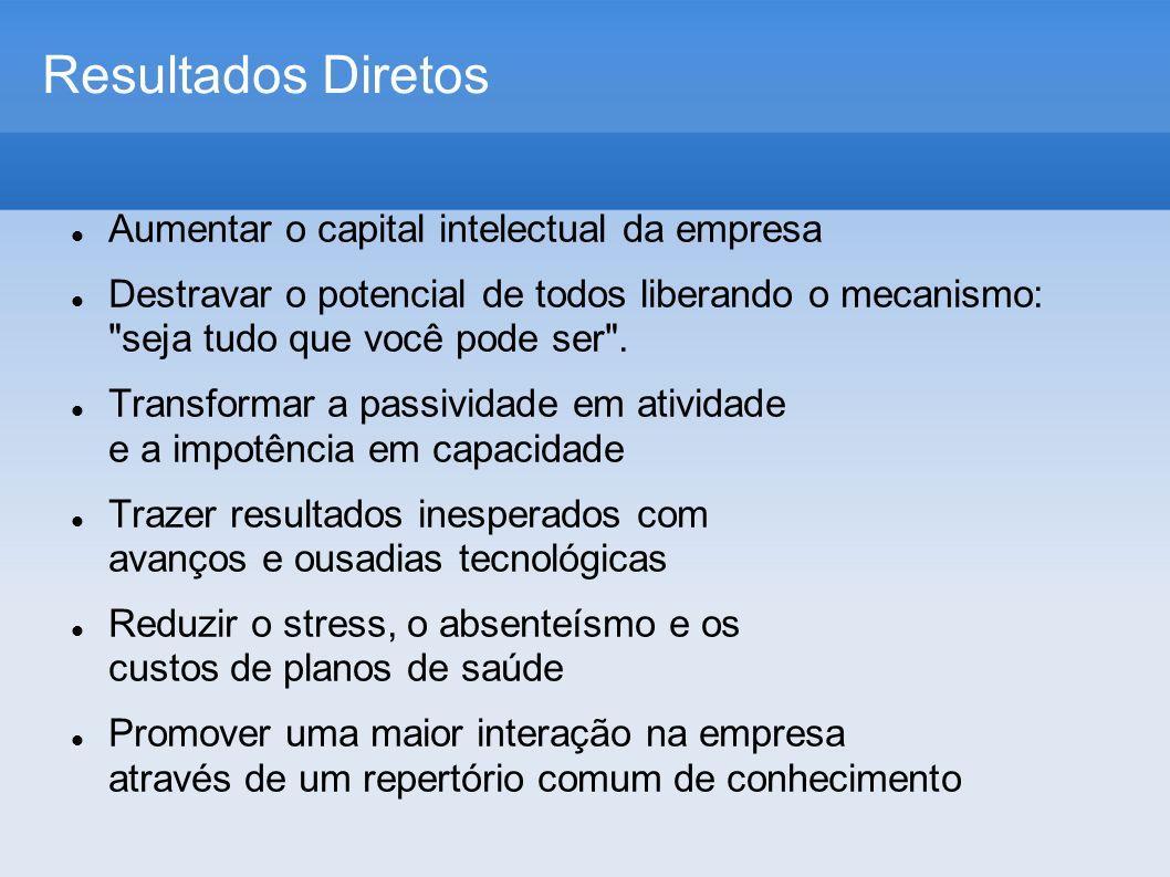 Resultados Diretos Aumentar o capital intelectual da empresa Destravar o potencial de todos liberando o mecanismo: