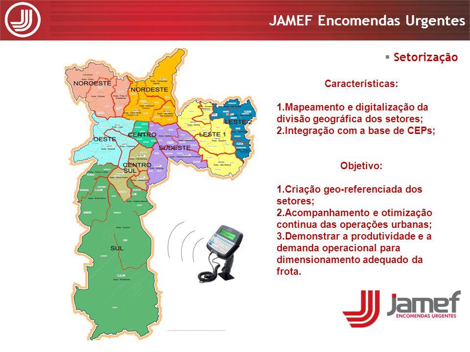 Apresentação 2008 JAMEF Encomendas Urgentes Apresentação 2008 JAMEF Encomendas Urgentes Características: 1.Mapeamento e digitalização da divisão geogr