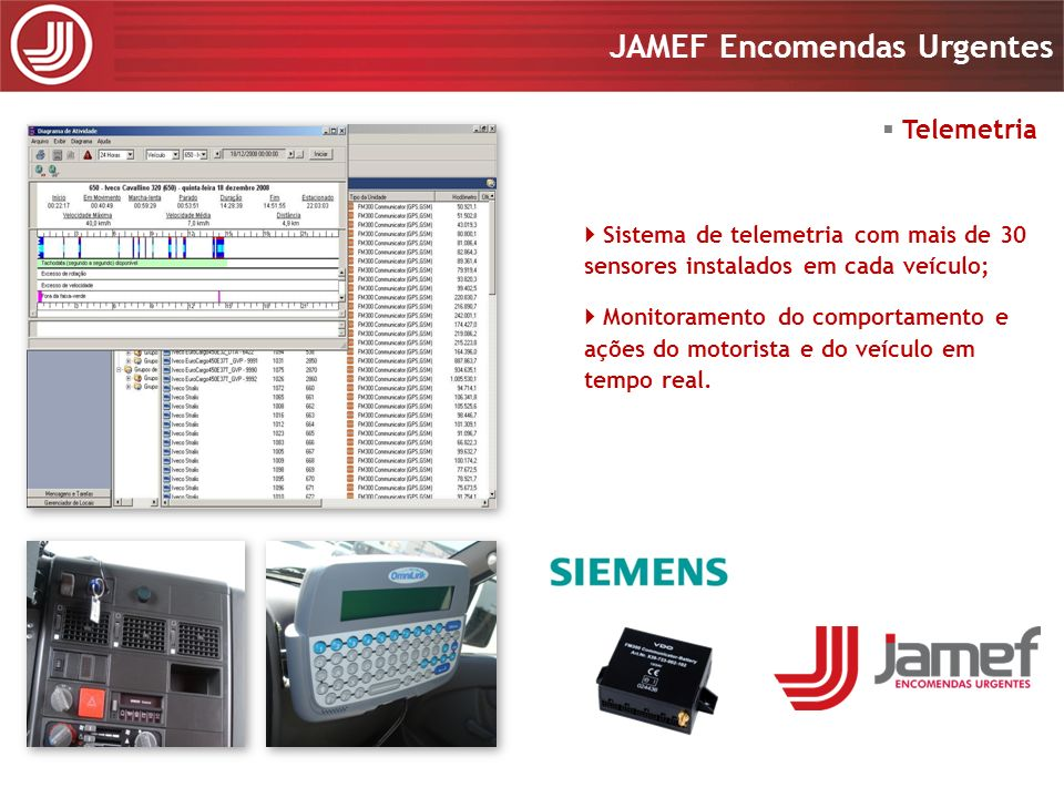 Apresentação 2008 JAMEF Encomendas Urgentes Apresentação 2008 JAMEF Encomendas Urgentes Telemetria Sistema de telemetria com mais de 30 sensores insta