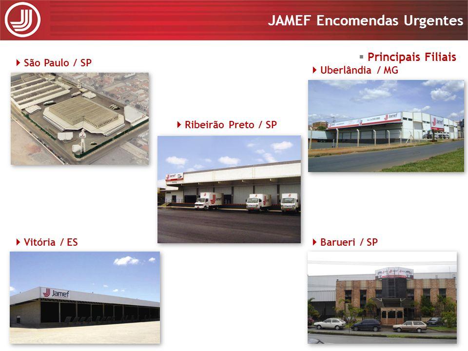 Apresentação 2008 JAMEF Encomendas Urgentes Apresentação 2008 JAMEF Encomendas Urgentes Frota Idade média de 2,5 anos; Tecnologia embarcada; Mais de 800 veículos entre leves, médios, semi-pesados e pesados; Motoristas permanentemente treinados em direção defensiva, preventiva e econômica ; Controle de Manutenção, totalmente informatizado (ERP).