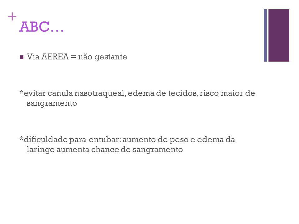 + ABC… Via AEREA = não gestante *evitar canula nasotraqueal, edema de tecidos, risco maior de sangramento *dificuldade para entubar: aumento de peso e