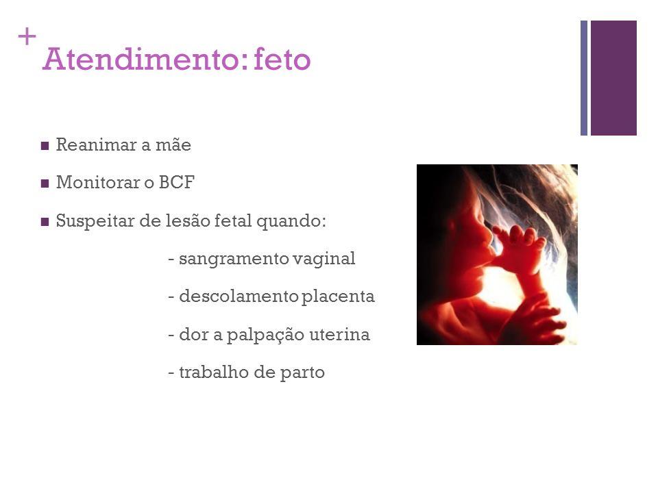 + Atendimento: feto Reanimar a mãe Monitorar o BCF Suspeitar de lesão fetal quando: - sangramento vaginal - descolamento placenta - dor a palpação ute