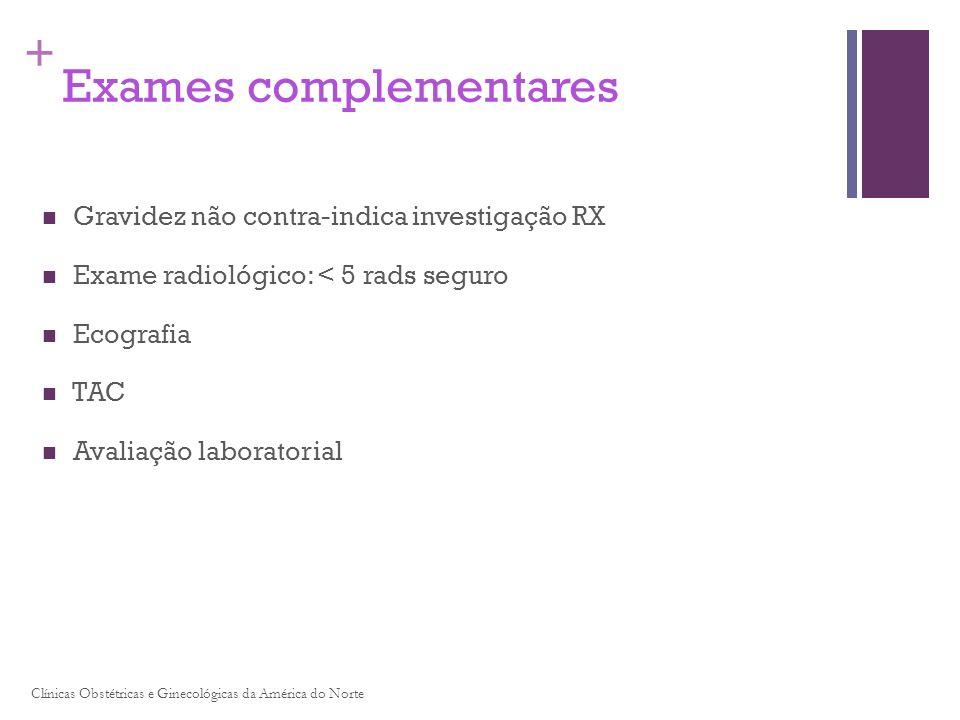 + Exames complementares Gravidez não contra-indica investigação RX Exame radiológico: < 5 rads seguro Ecografia TAC Avaliação laboratorial Clínicas Ob