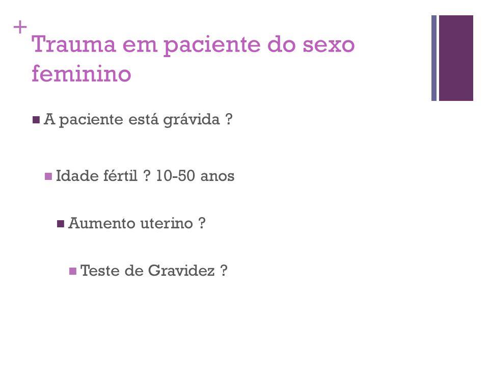 + Trauma em paciente do sexo feminino A paciente está grávida ? Idade fértil ? 10-50 anos Aumento uterino ? Teste de Gravidez ?