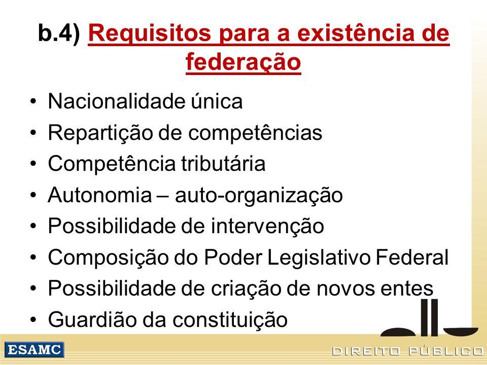 b.4) Requisitos para a existência de federação Nacionalidade única Repartição de competências Competência tributária Autonomia – auto-organização Poss