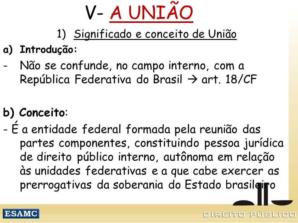 V- A UNIÃO 1)Significado e conceito de União a)Introdução: -Não se confunde, no campo interno, com a República Federativa do Brasil art. 18/CF b) Conc