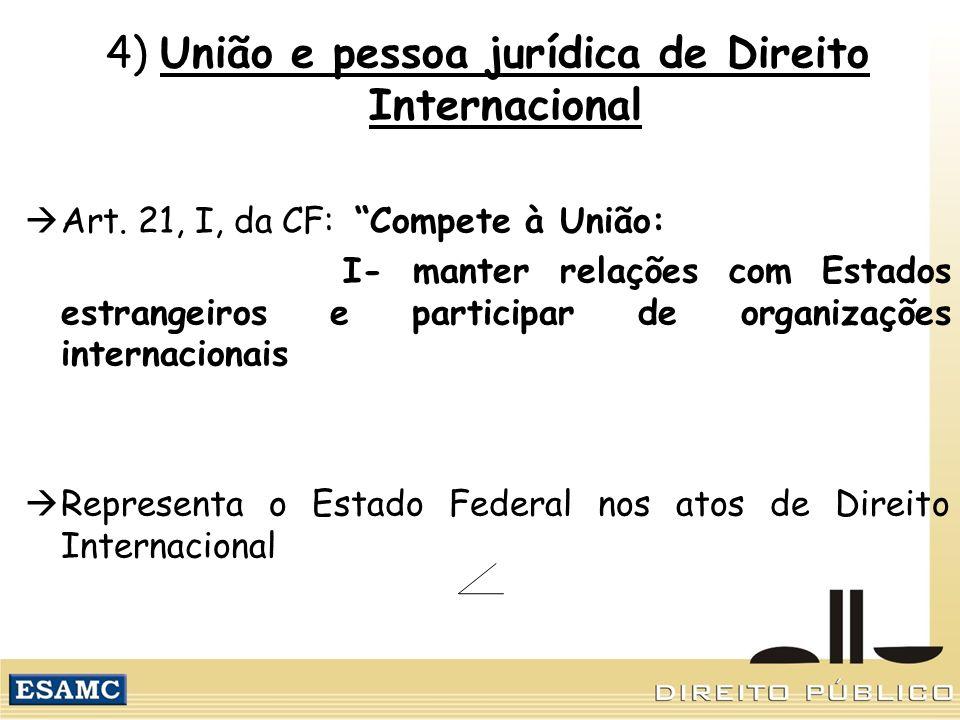 4) União e pessoa jurídica de Direito Internacional Art. 21, I, da CF: Compete à União: I- manter relações com Estados estrangeiros e participar de or