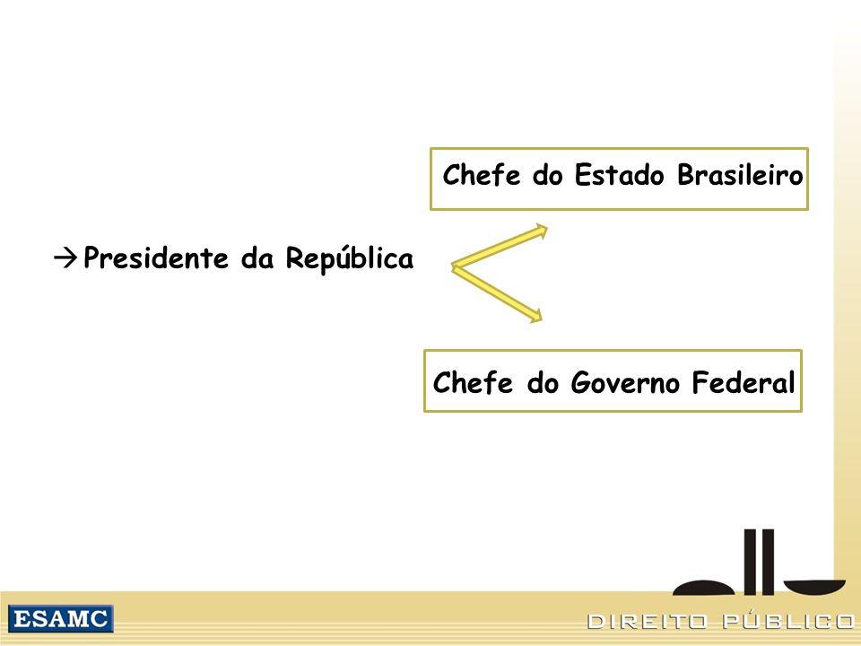 Chefe do Estado Brasileiro Presidente da República Chefe do Governo Federal