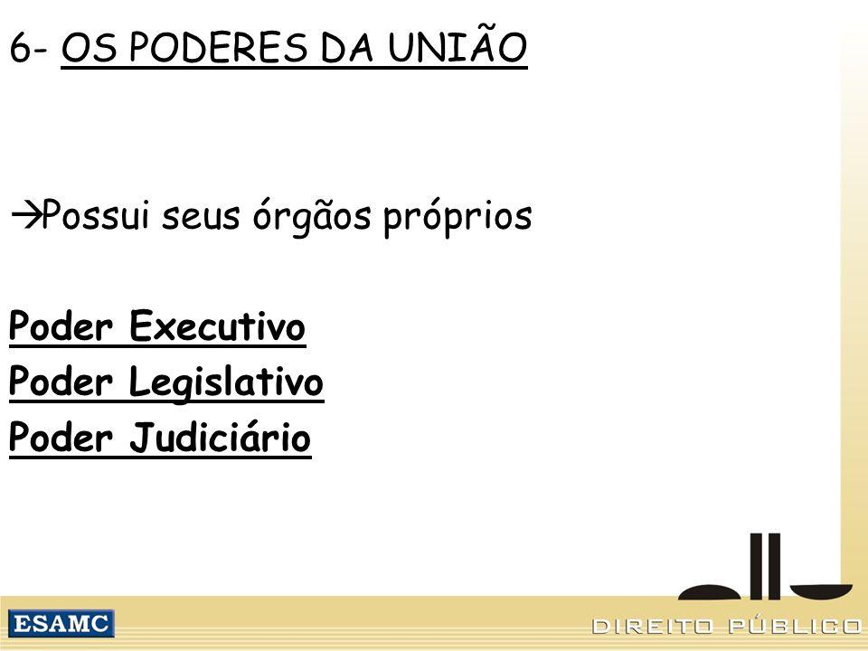 6- OS PODERES DA UNIÃO Possui seus órgãos próprios Poder Executivo Poder Legislativo Poder Judiciário
