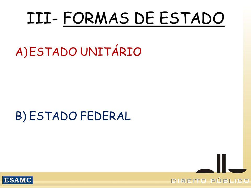 III- FORMAS DE ESTADO A)ESTADO UNITÁRIO B)ESTADO FEDERAL
