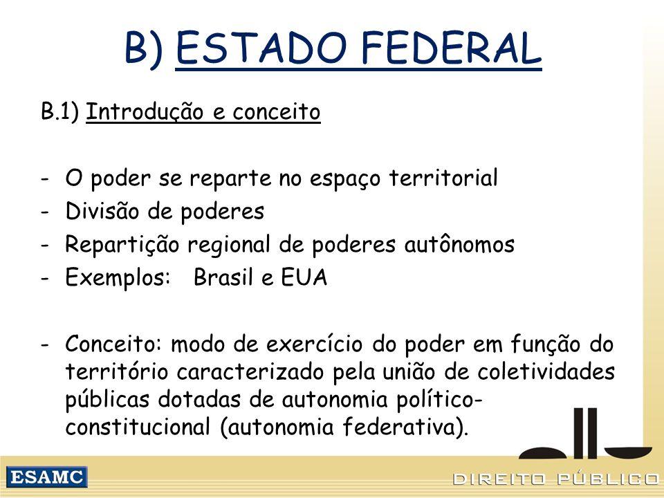 B) ESTADO FEDERAL B.1) Introdução e conceito -O poder se reparte no espaço territorial -Divisão de poderes -Repartição regional de poderes autônomos -