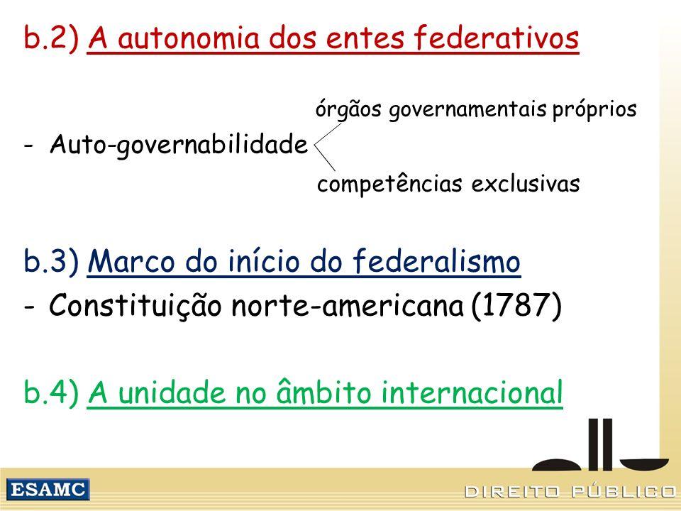 b.2) A autonomia dos entes federativos órgãos governamentais próprios -Auto-governabilidade competências exclusivas b.3) Marco do início do federalism