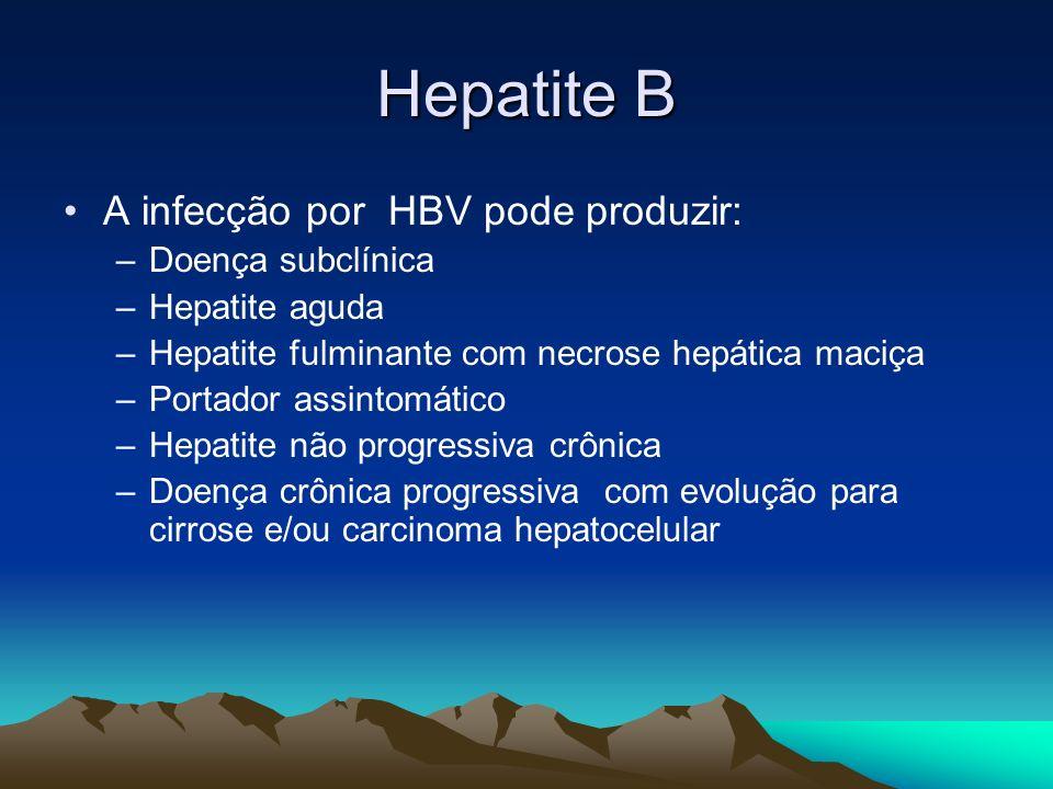 Hepatite B A infecção por HBV pode produzir: –Doença subclínica –Hepatite aguda –Hepatite fulminante com necrose hepática maciça –Portador assintomáti