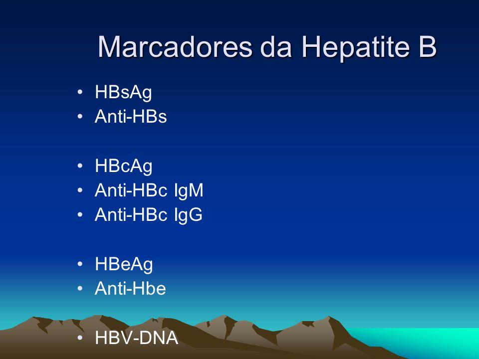 Marcadores da Hepatite B HBsAg Anti-HBs HBcAg Anti-HBc IgM Anti-HBc IgG HBeAg Anti-Hbe HBV-DNA