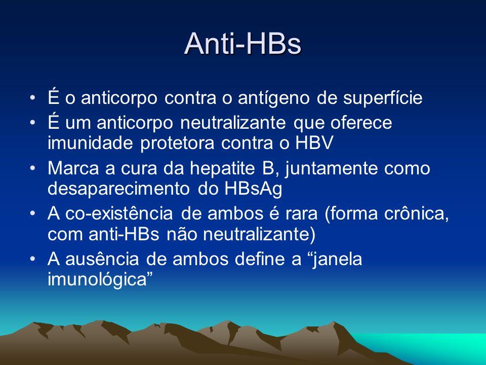 Anti-HBs É o anticorpo contra o antígeno de superfície É um anticorpo neutralizante que oferece imunidade protetora contra o HBV Marca a cura da hepat