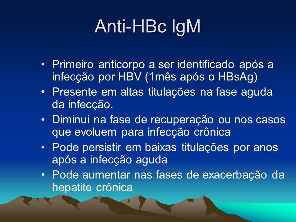 Anti-HBc IgM Primeiro anticorpo a ser identificado após a infecção por HBV (1mês após o HBsAg) Presente em altas titulações na fase aguda da infecção.