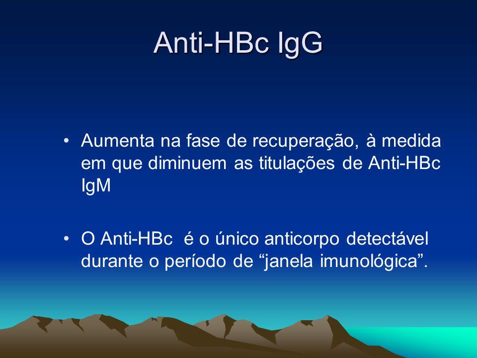 Anti-HBc IgG Aumenta na fase de recuperação, à medida em que diminuem as titulações de Anti-HBc IgM O Anti-HBc é o único anticorpo detectável durante