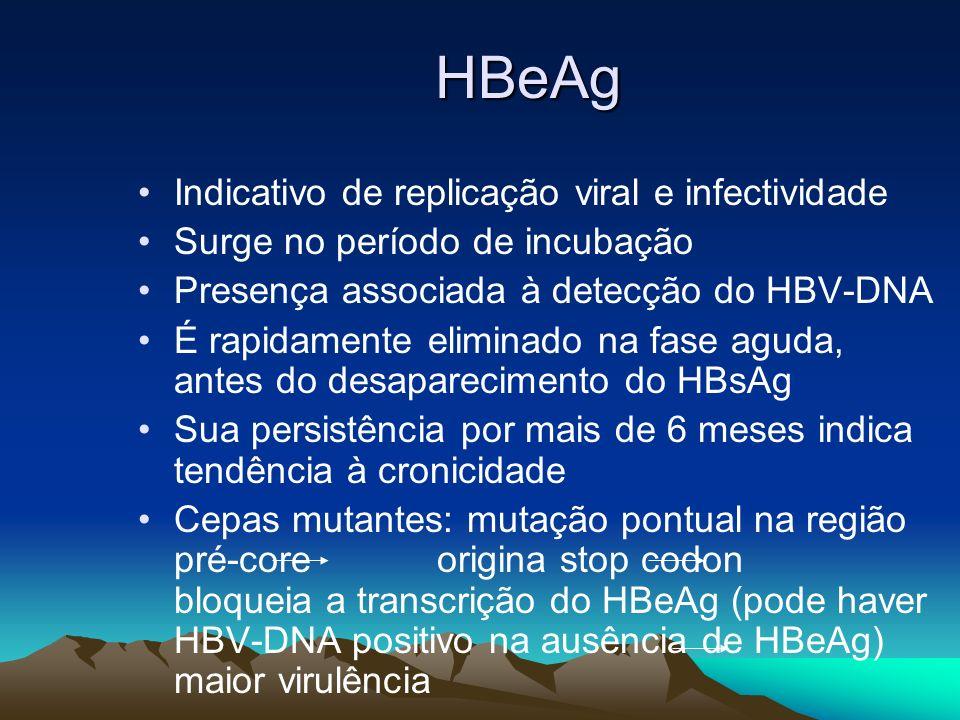 HBeAg Indicativo de replicação viral e infectividade Surge no período de incubação Presença associada à detecção do HBV-DNA É rapidamente eliminado na