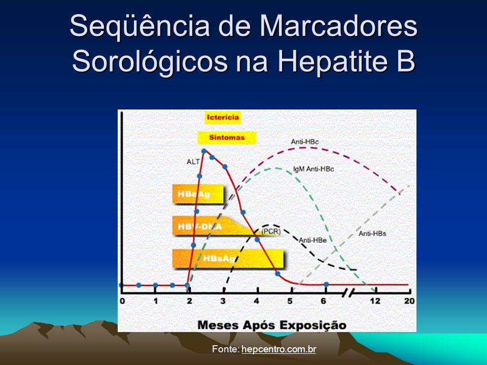 Seqüência de Marcadores Sorológicos na Hepatite B Fonte: hepcentro.com.br