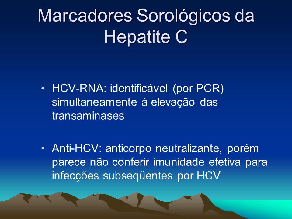 Marcadores Sorológicos da Hepatite C HCV-RNA: identificável (por PCR) simultaneamente à elevação das transaminases Anti-HCV: anticorpo neutralizante,