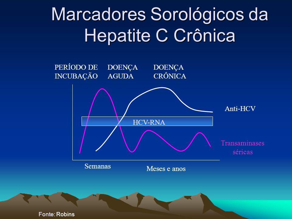 Marcadores Sorológicos da Hepatite C Crônica Fonte: Robins HCV-RNA Semanas Meses e anos PERÍODO DE INCUBAÇÃO DOENÇA AGUDA DOENÇA CRÔNICA Transaminases