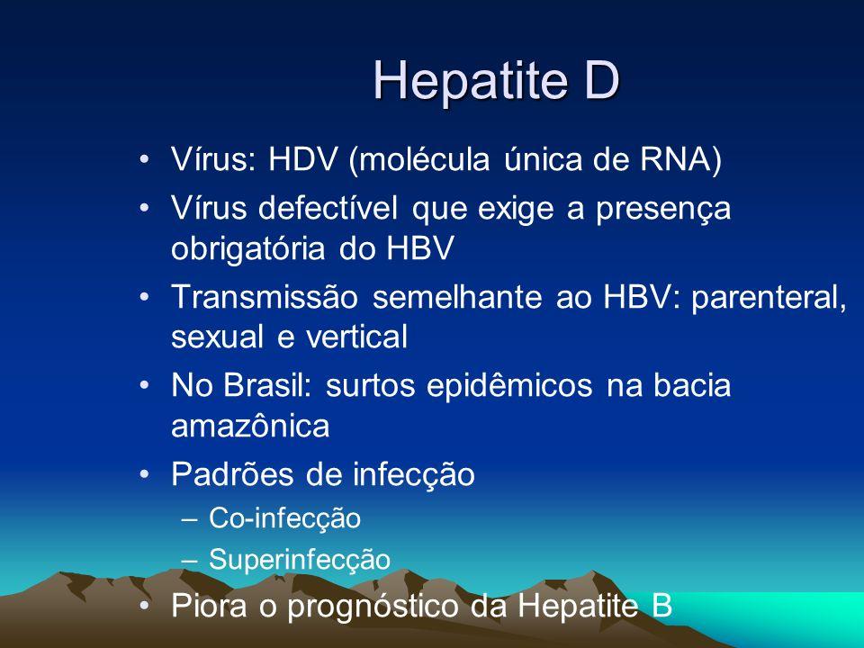 Vírus: HDV (molécula única de RNA) Vírus defectível que exige a presença obrigatória do HBV Transmissão semelhante ao HBV: parenteral, sexual e vertic