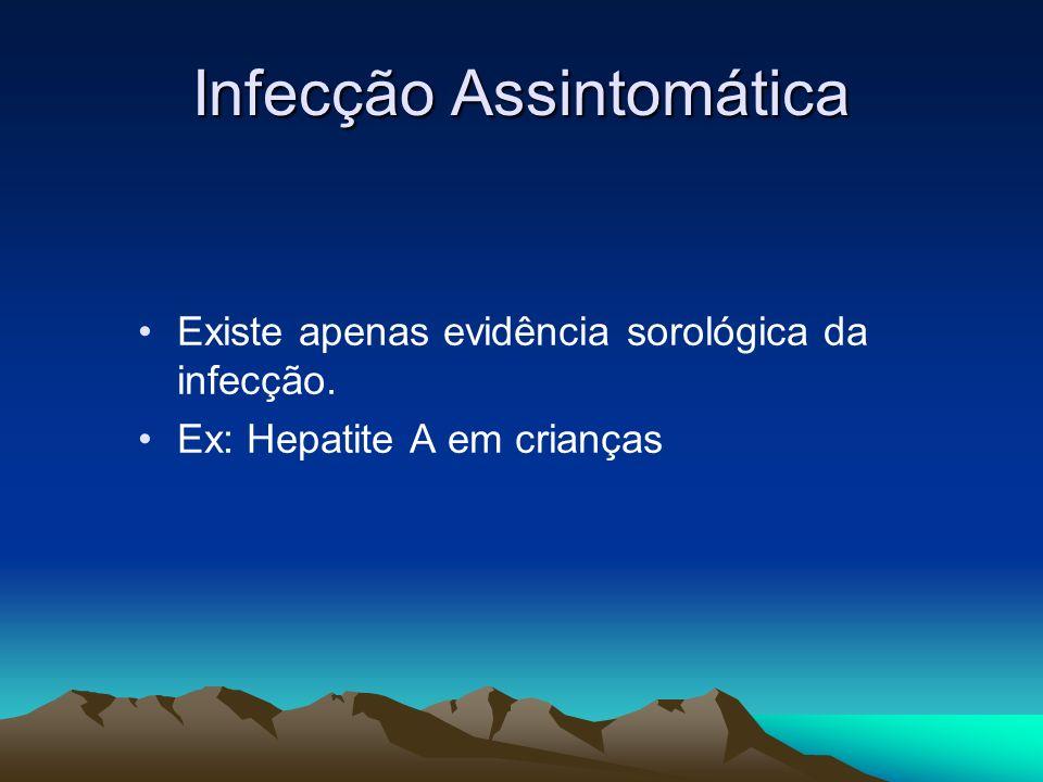 Infecção Assintomática Existe apenas evidência sorológica da infecção. Ex: Hepatite A em crianças