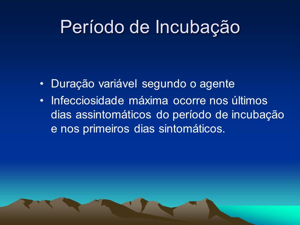 Período de Incubação Duração variável segundo o agente Infecciosidade máxima ocorre nos últimos dias assintomáticos do período de incubação e nos prim