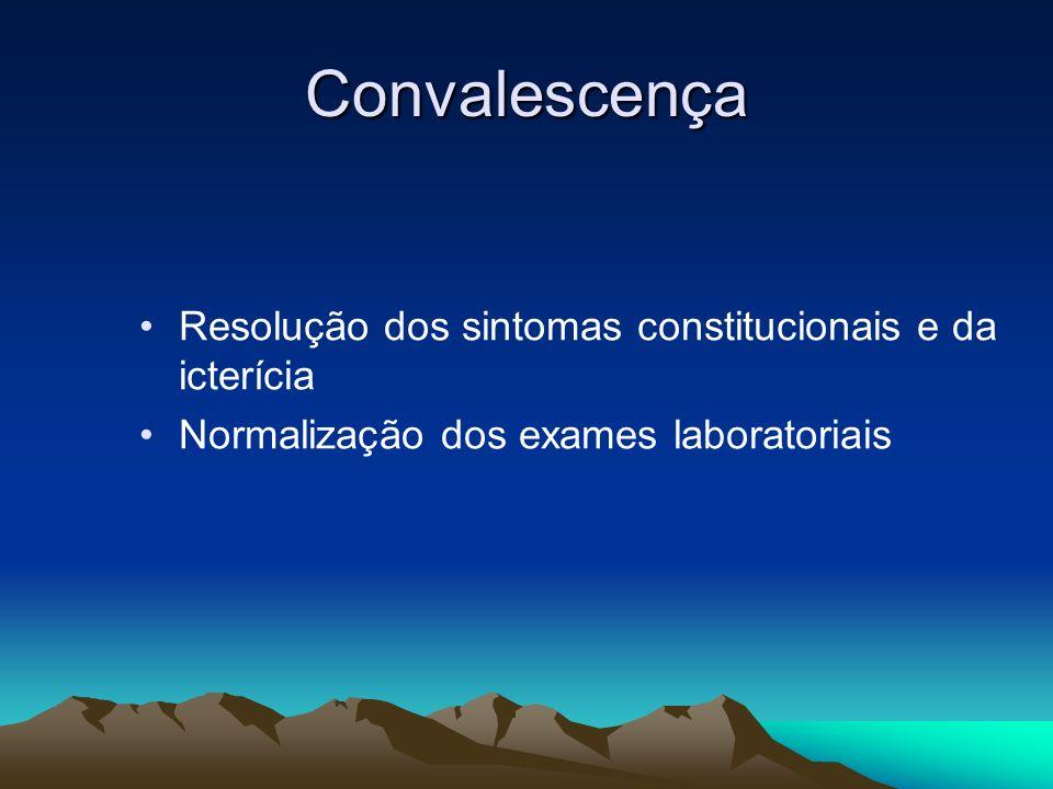 Convalescença Resolução dos sintomas constitucionais e da icterícia Normalização dos exames laboratoriais
