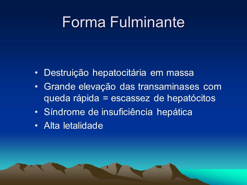 Forma Fulminante Destruição hepatocitária em massa Grande elevação das transaminases com queda rápida = escassez de hepatócitos Síndrome de insuficiên