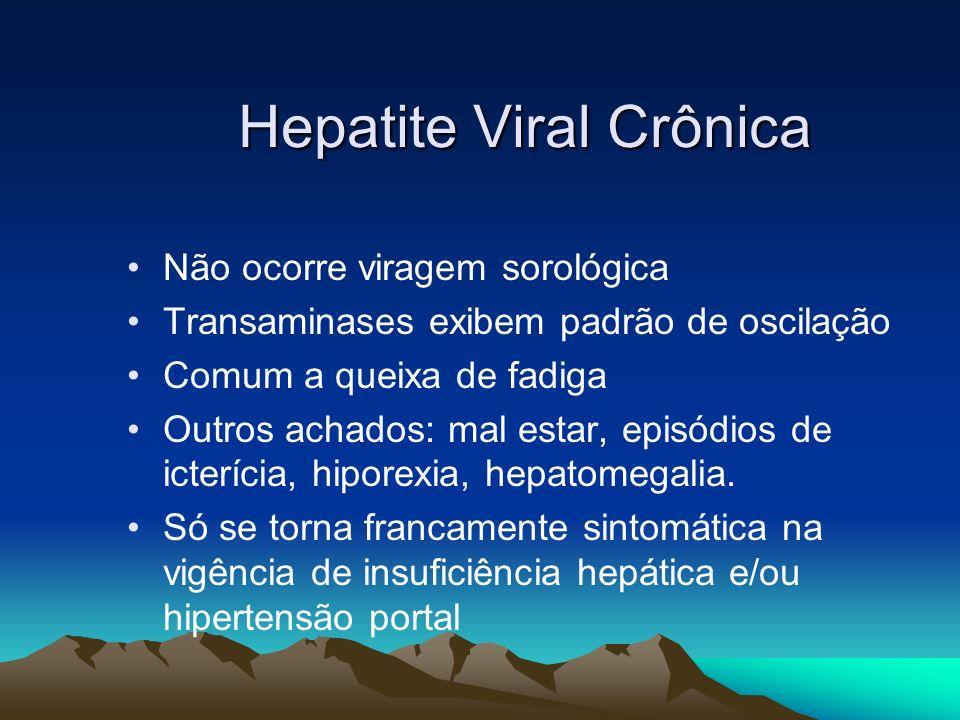Hepatite Viral Crônica Não ocorre viragem sorológica Transaminases exibem padrão de oscilação Comum a queixa de fadiga Outros achados: mal estar, epis