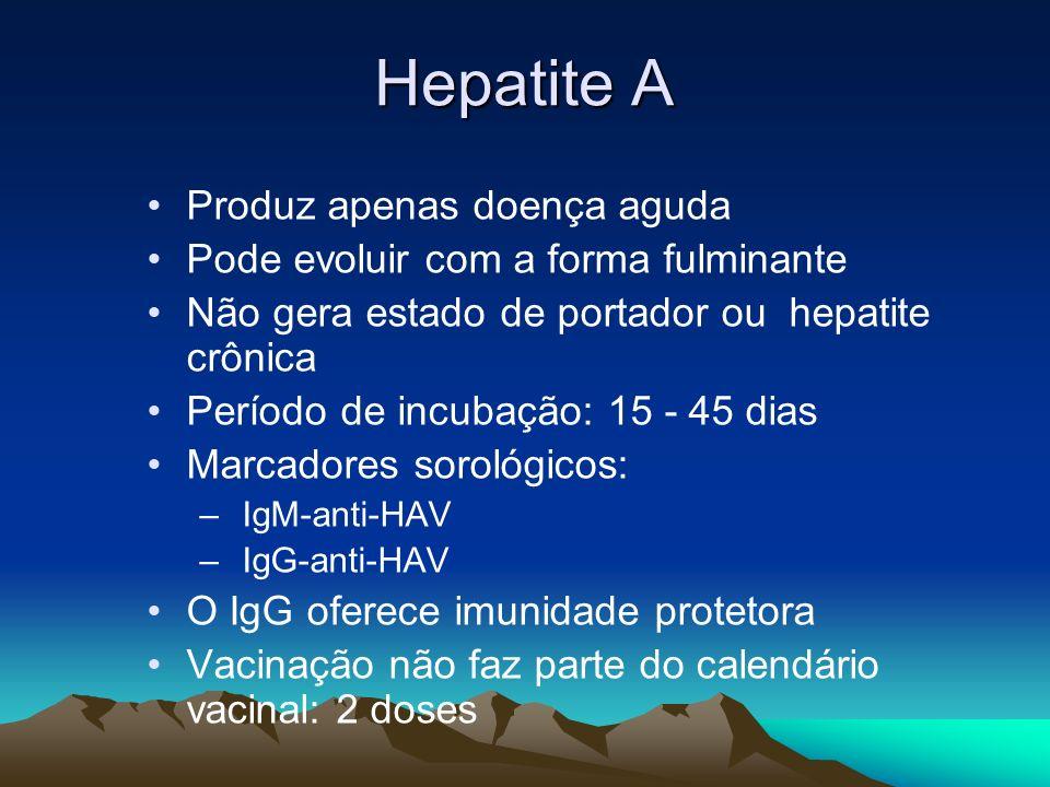 Hepatite A Produz apenas doença aguda Pode evoluir com a forma fulminante Não gera estado de portador ou hepatite crônica Período de incubação: 15 - 4