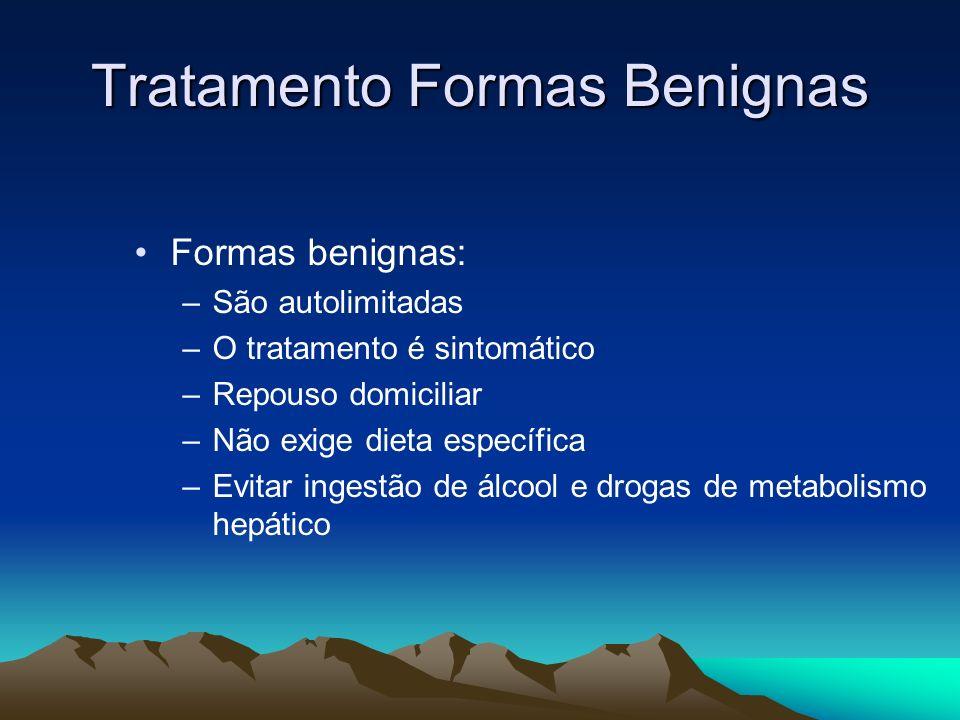 Tratamento Formas Benignas Formas benignas: –São autolimitadas –O tratamento é sintomático –Repouso domiciliar –Não exige dieta específica –Evitar ing
