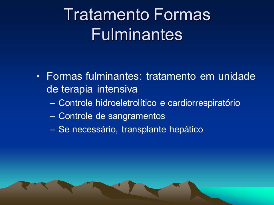 Tratamento Formas Fulminantes Formas fulminantes: tratamento em unidade de terapia intensiva –Controle hidroeletrolítico e cardiorrespiratório –Contro