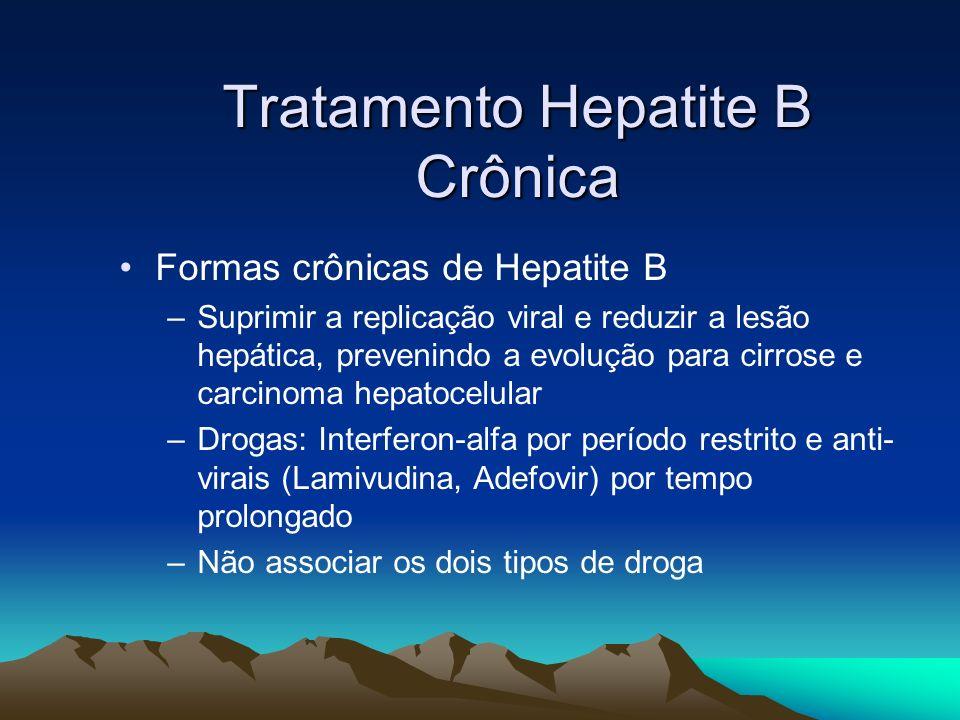 Tratamento Hepatite B Crônica Formas crônicas de Hepatite B –Suprimir a replicação viral e reduzir a lesão hepática, prevenindo a evolução para cirros