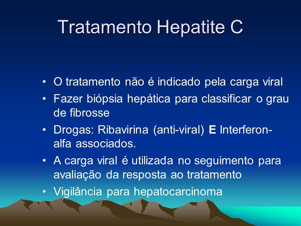 Tratamento Hepatite C O tratamento não é indicado pela carga viral Fazer biópsia hepática para classificar o grau de fibrosse Drogas: Ribavirina (anti