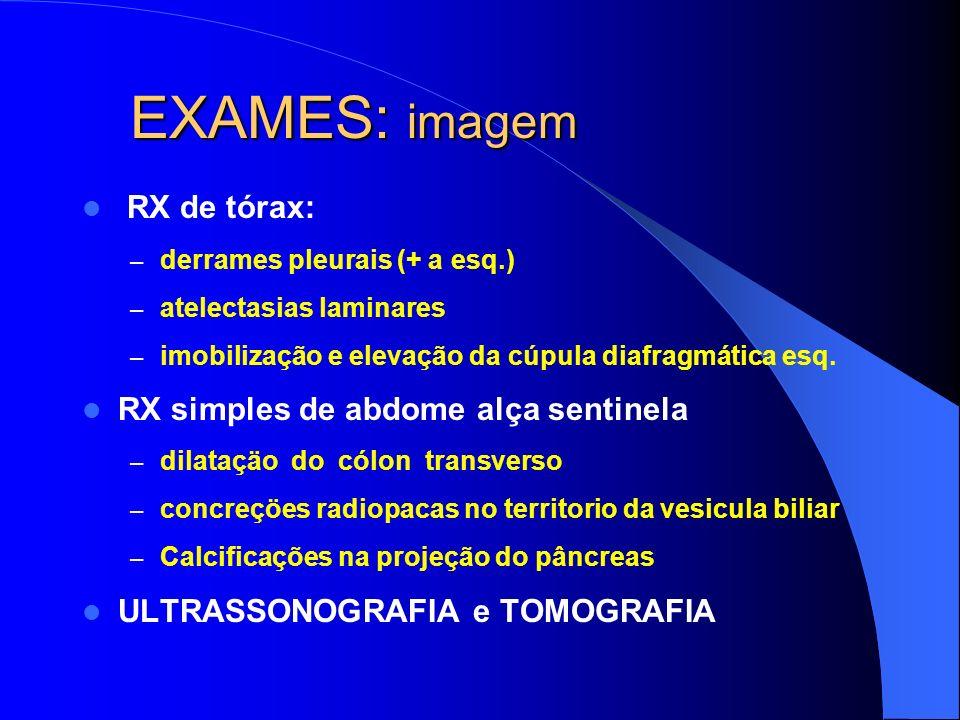 EXAMES: imagem RX de tórax: – derrames pleurais (+ a esq.) – atelectasias laminares – imobilização e elevação da cúpula diafragmática esq. RX simples