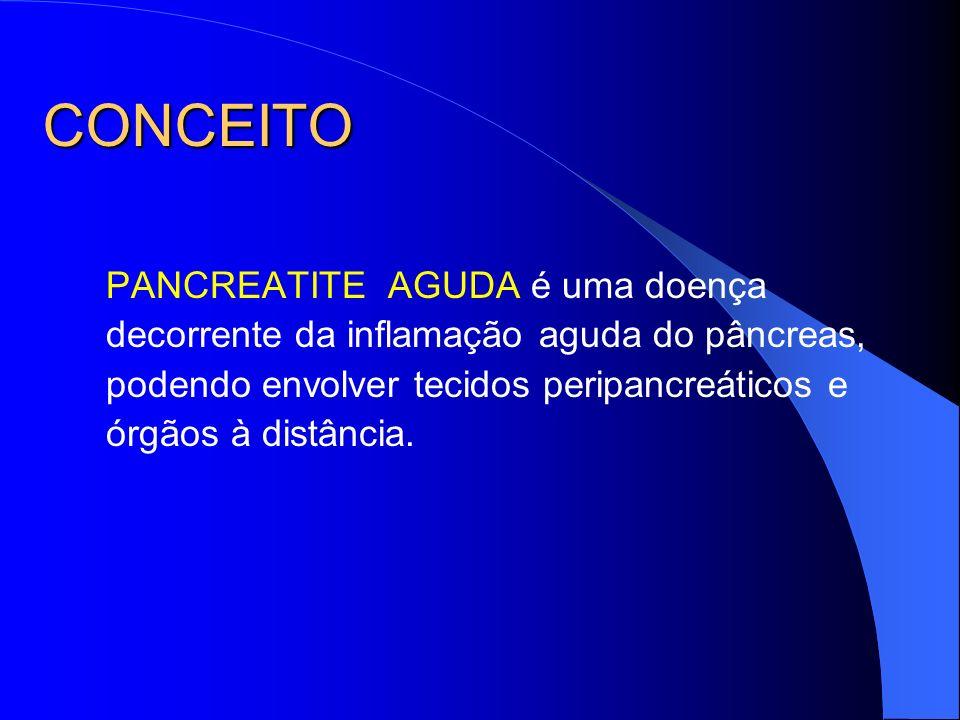 CONCEITO PANCREATITE AGUDA é uma doença decorrente da inflamação aguda do pâncreas, podendo envolver tecidos peripancreáticos e órgãos à distância.