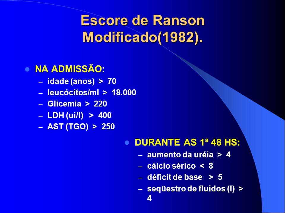 Escore de Ranson Modificado(1982). NA ADMISSÄO: – idade (anos) > 70 – leucócitos/ml > 18.000 – Glicemia > 220 – LDH (ui/l) > 400 – AST (TGO) > 250 DUR