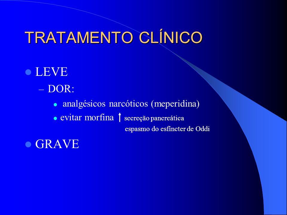TRATAMENTO CLÍNICO GRAVE – CTI – Dor – Choque – Prevenir hemorragia digestiva – Jejum/sonda nasogástrica – Correção dos distúrbios metabólicos – Antibioticoterapia