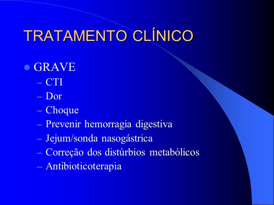 TRATAMENTO CLÍNICO GRAVE – CTI – Dor – Choque – Prevenir hemorragia digestiva – Jejum/sonda nasogástrica – Correção dos distúrbios metabólicos – Antib