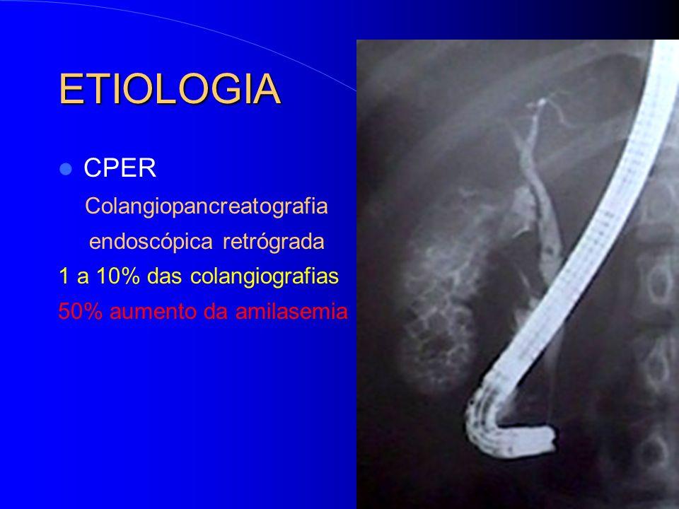 CPER Colangiopancreatografia endoscópica retrógrada 1 a 10% das colangiografias 50% aumento da amilasemia ETIOLOGIA