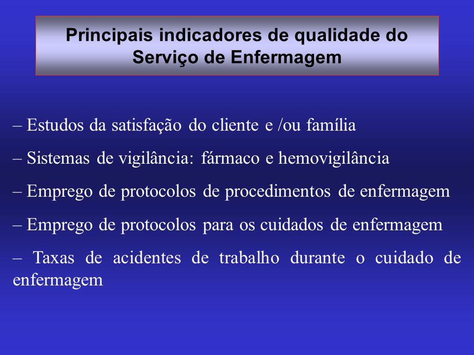 – Estudos da satisfação do cliente e /ou família – Sistemas de vigilância: fármaco e hemovigilância – Emprego de protocolos de procedimentos de enferm