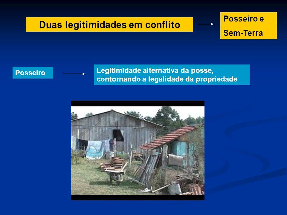 Duas legitimidades em conflito Posseiro Legitimidade alternativa da posse, contornando a legalidade da propriedade Posseiro e Sem-Terra