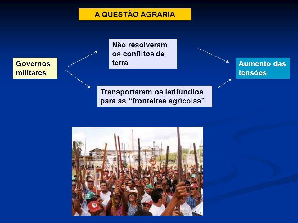 Governos militares Não resolveram os conflitos de terra Transportaram os latifúndios para as fronteiras agrícolas Aumento das tensões A QUESTÃO AGRARI