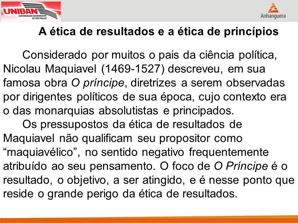 Considerado por muitos o pais da ciência política, Nicolau Maquiavel (1469-1527) descreveu, em sua famosa obra O príncipe, diretrizes a serem observadas por dirigentes políticos de sua época, cujo contexto era o das monarquias absolutistas e principados.