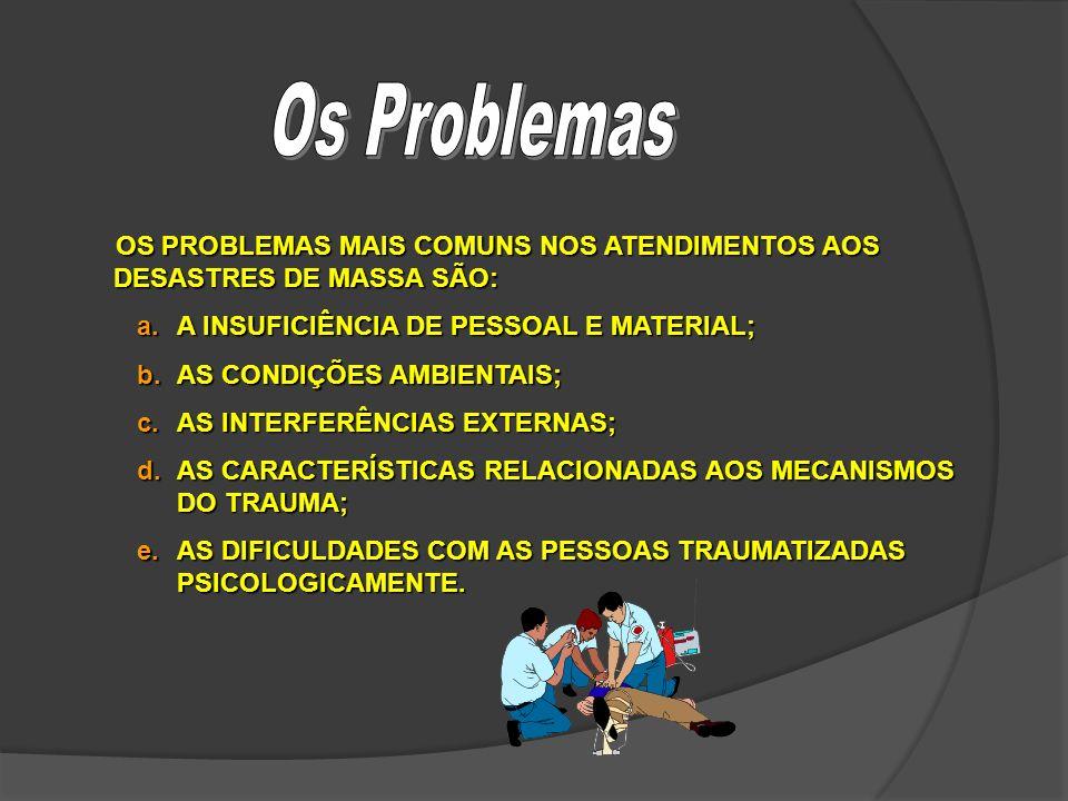 OS PROBLEMAS MAIS COMUNS NOS ATENDIMENTOS AOS DESASTRES DE MASSA SÃO: a.A INSUFICIÊNCIA DE PESSOAL E MATERIAL; b.AS CONDIÇÕES AMBIENTAIS; c.AS INTERFE